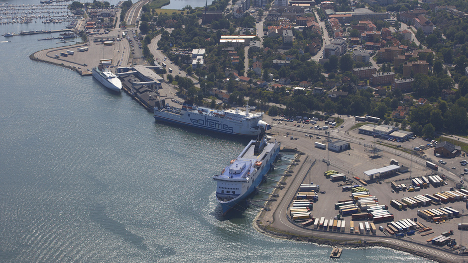 Aerial photo of port of Nynäshamns a sunny day
