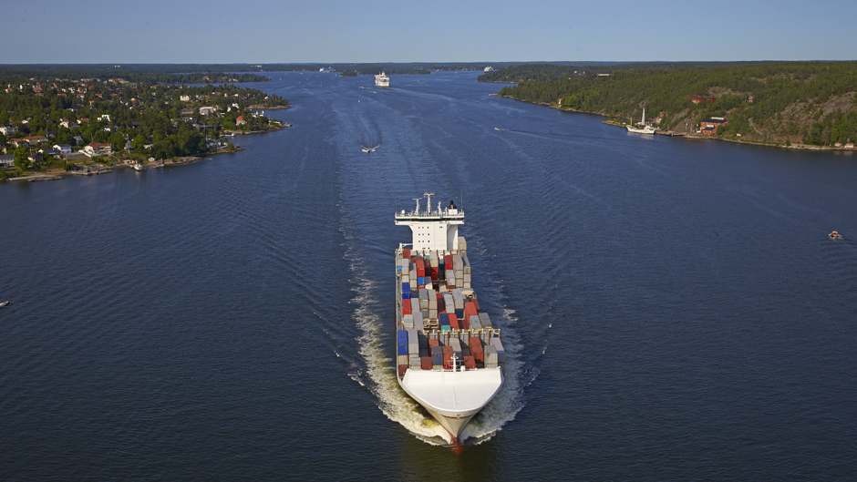 Containervessel in the archipelago