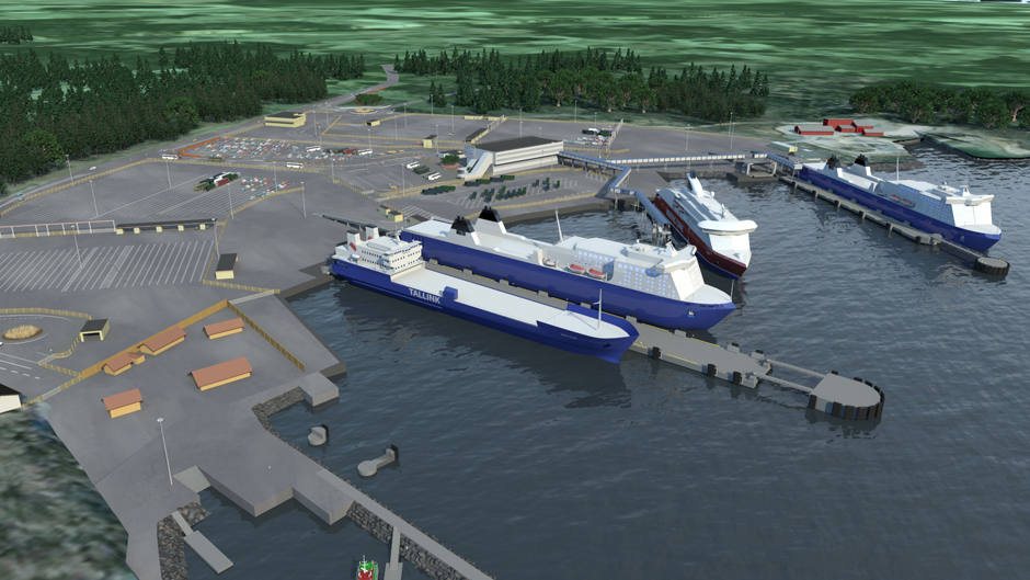 Vision image of the rebuilt port of Kapellskär