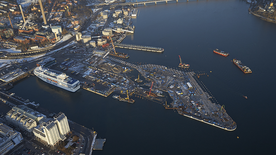 Aerial photo of the construction of the new Värta pier