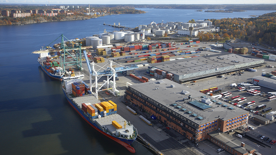Aerial photo of the Container Terminal Frihamnen