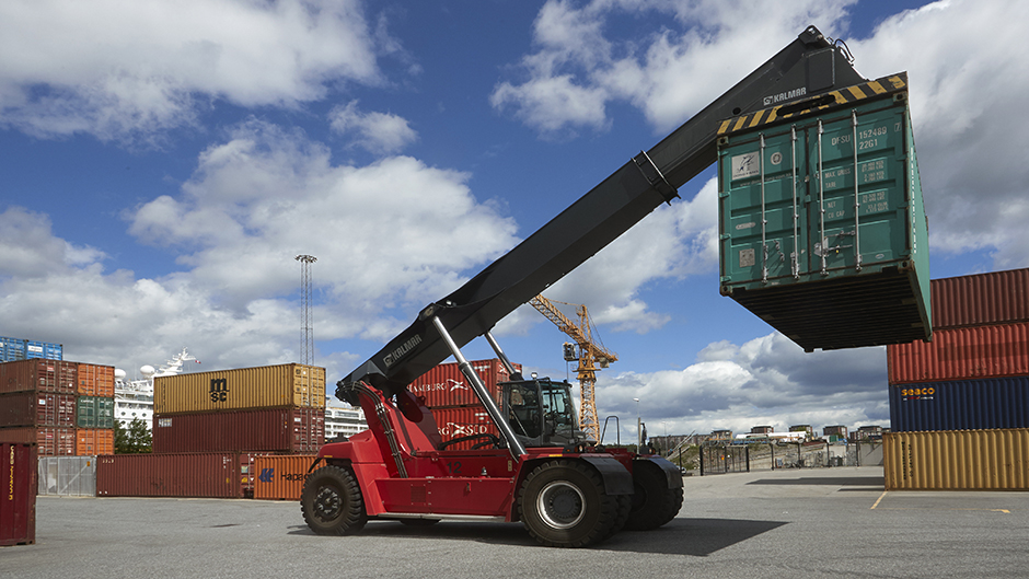 Container truck in action at the Container Teminal Frihamnen