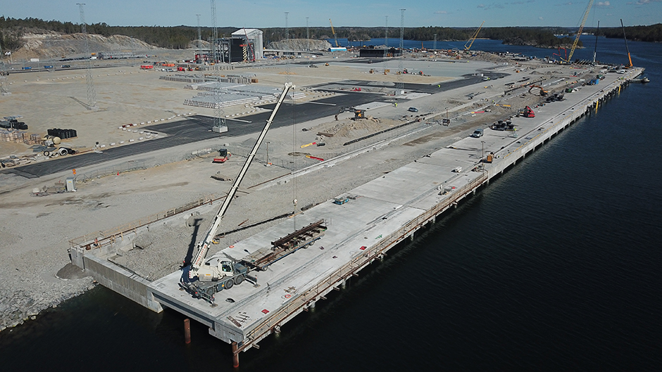 Aerial view of the container quay at Stockholm Norvik Port