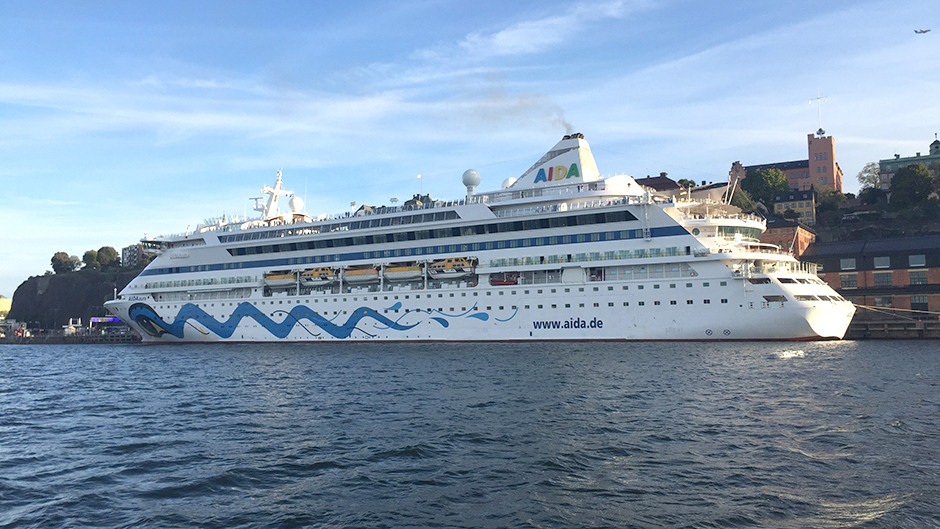The cruise vessel Aidaaura at Stadsgården a sunny day
