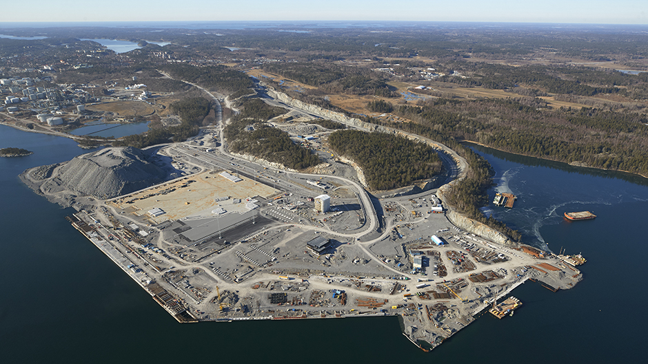 Aerial view of Stockholm Norvik Port - one year before opening