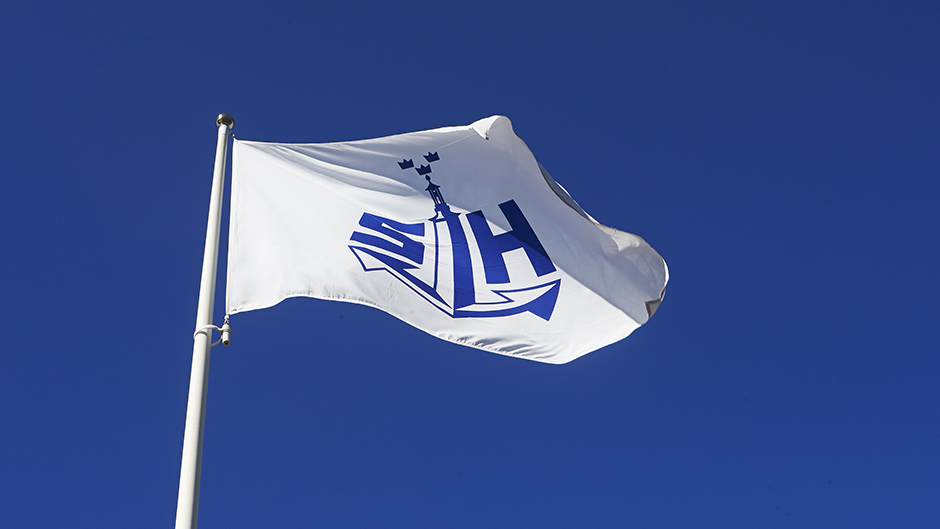 Ports of Stockholm´s flag waving in the wind