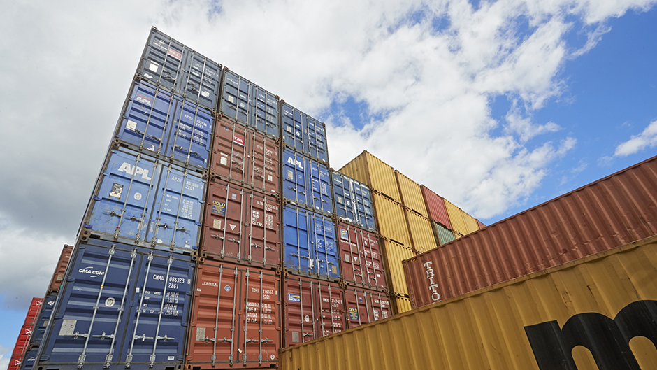 Containers stacked on top of each other