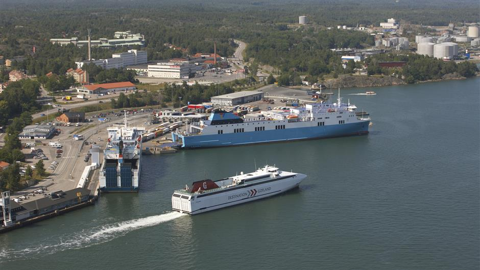 Aerial photo of port of Nynäshamn