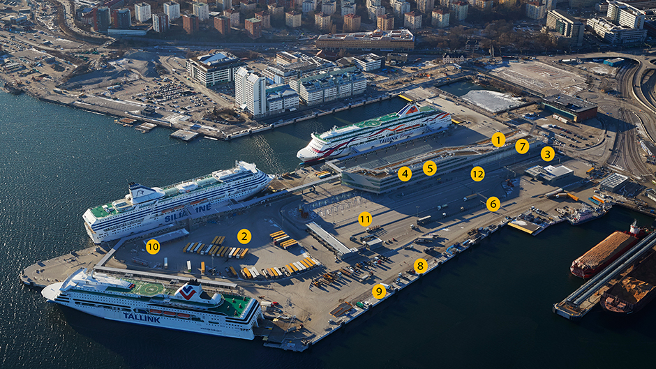 Ariel view of the Värtahamnen port with all of the improved environmental measures indicated and numbered