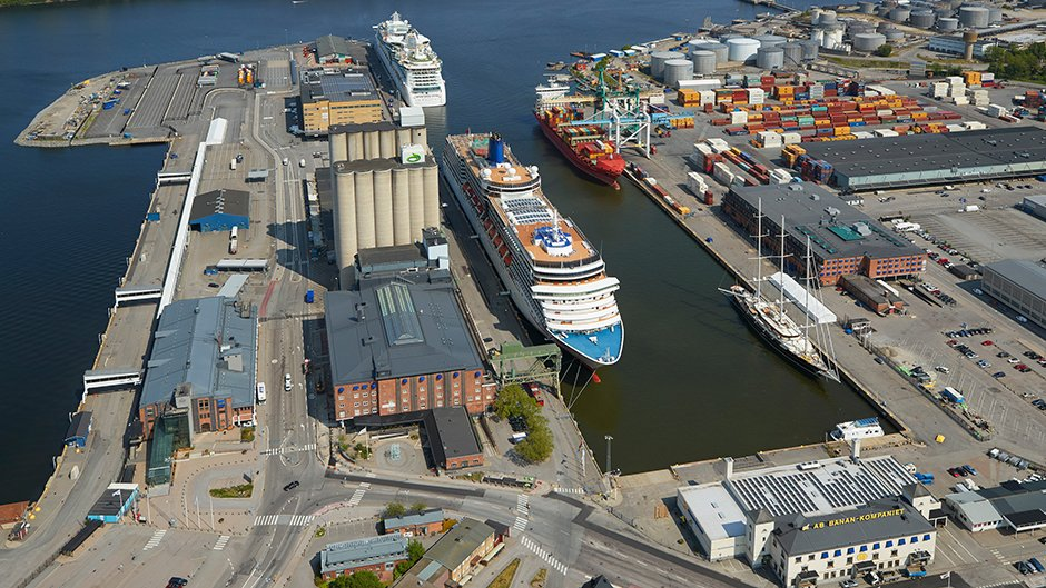 Aerial view of Frihamnen port