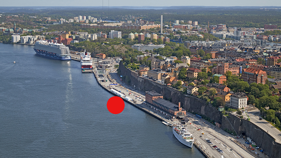 Aerial view of Stadsgården and Södermalm