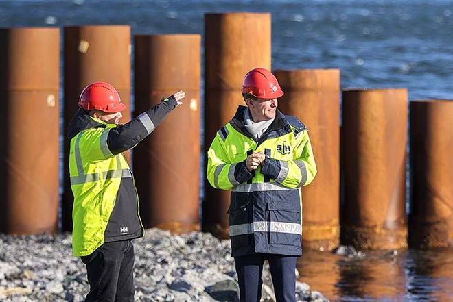 Markus Johansson and Nicklas Ebersson at the construction site of Stockholm Norvik Port