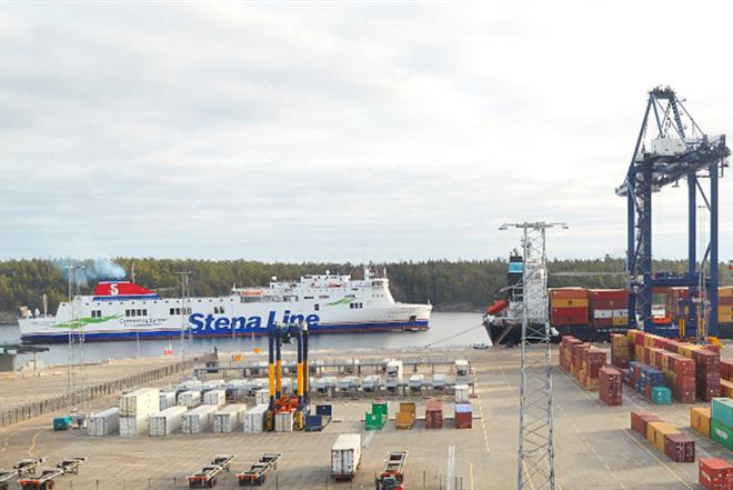 Stena Line's vessel with Stockholm Norvik Port in the foreground