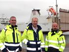 Per Axelsson, Deputy Operation Manager Nynäshamn. Anders Sjöblom, Operation Manager Stena Line. Markus Johansson, Operation Manager Nynäshamn. In front of the vessel Elisabeth Russ at Port of Nynäshamn.