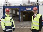 Thomas Andersson and Johan Wallén in front of Stena Line´s vessel at Stockholm Norvik Port