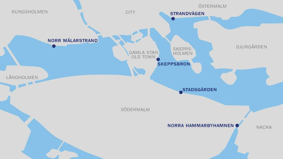 Map of places in Stockholm where you can berth